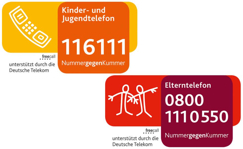 Rufnummern des Kinder- und Jugend- sowie Elterntelefons (verweist auf: Nummer gegen Kummer)