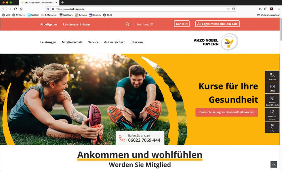 Website der BKK Akzo Nobel